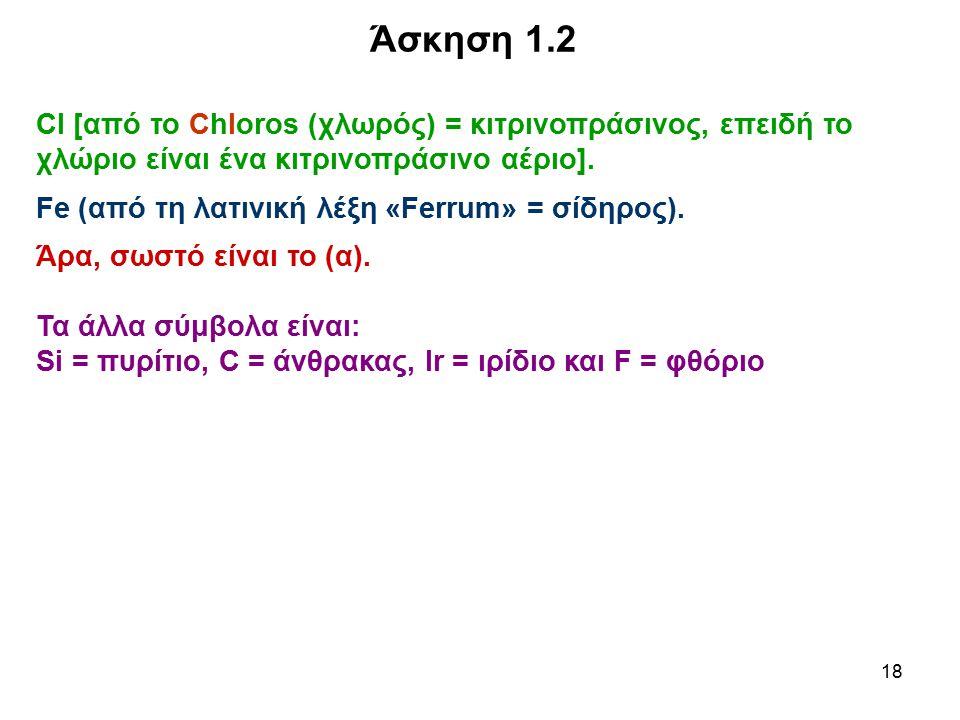 Άσκηση 1.2 Cl [από το Chloros (χλωρός) = κιτρινοπράσινος, επειδή το χλώριο είναι ένα κιτρινοπράσινο αέριο].